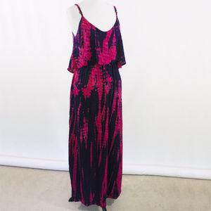 Pink Tie Dye Maxi dress with ruffle neckline